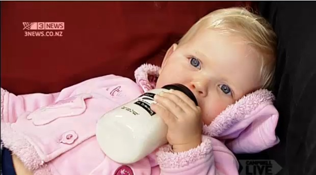 A Kiwi child under NZ milk shortage