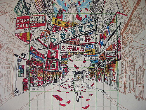 """Drawing of the old Lee Tung Street from """"粉末都市 - 消失中的香港"""" (The Crushed City – Hong Kong is Disappearing"""")"""